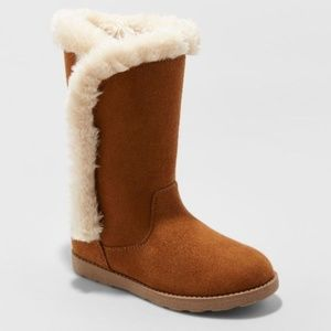 Girls Hart Microsuede Fashion Boots, Chestnut